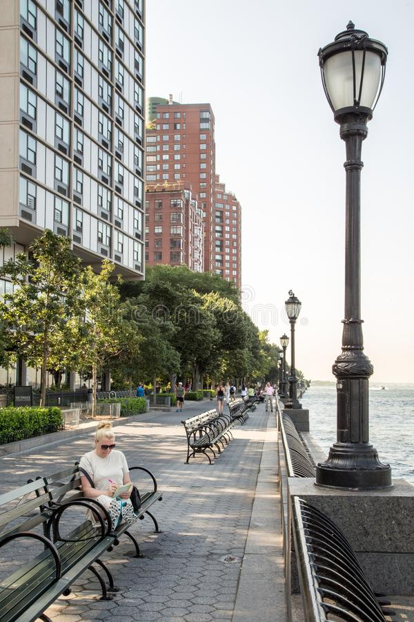 Walk by the Hudson river stock photography