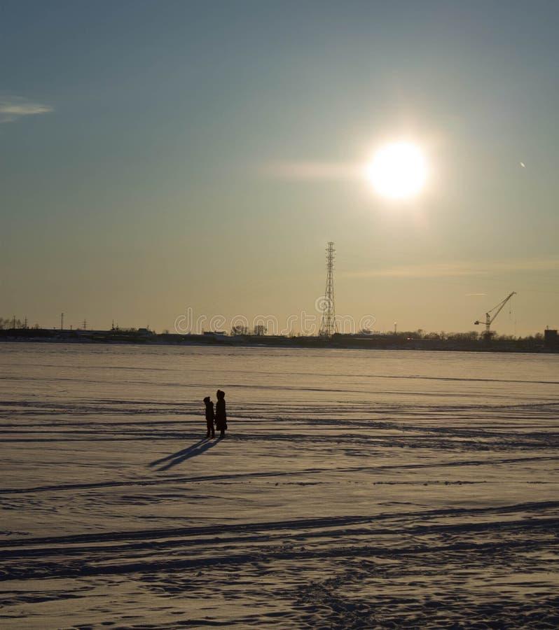 Walk on the ice stock photo