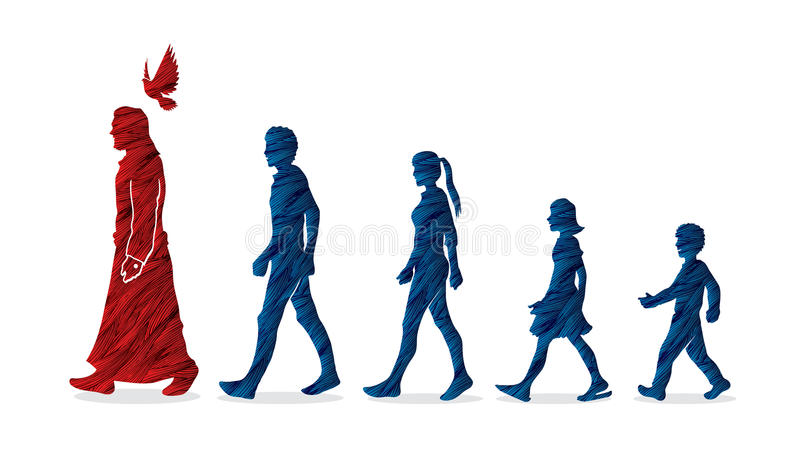 Walk with Jesus, Follow Jesus vector illustration