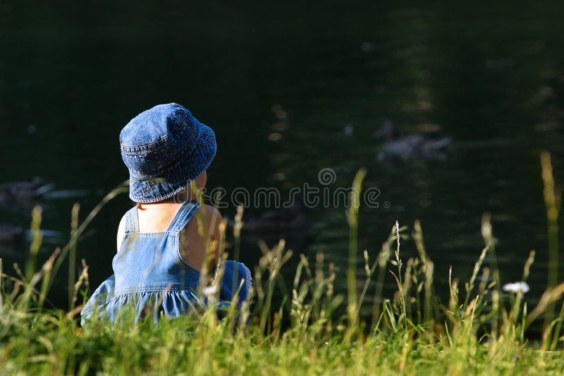 Walk on lake stock photo