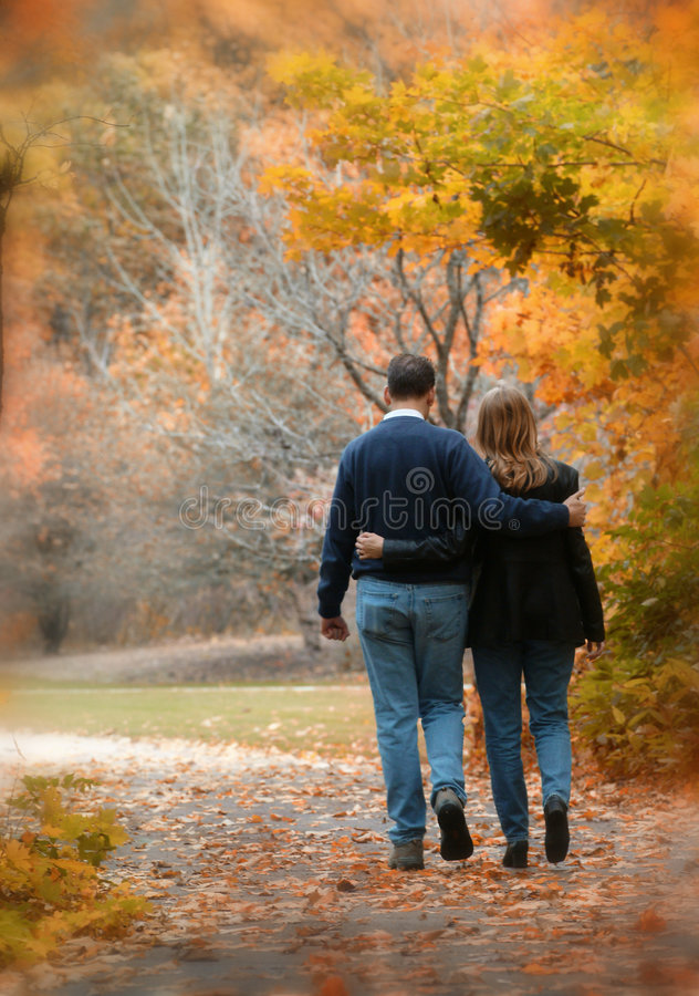 Walk in the Leaves stock photos