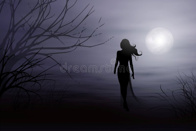 A Walk in The Moonlight. An illistration featuring the figure of a woman walking in a misty moonlight setting