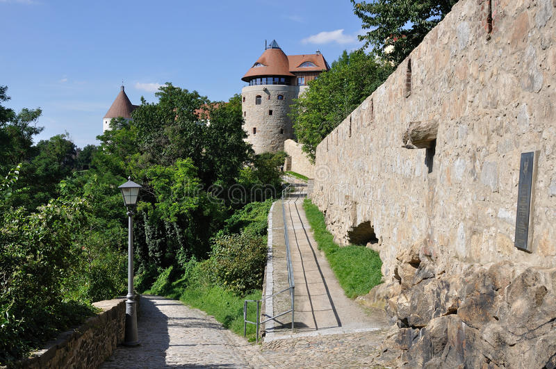 Walk near city-walls, bautzen. View of the walk in the park near the ancient fortifications and city walls stock photo
