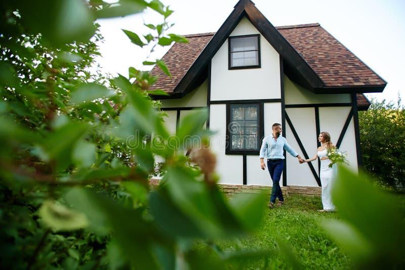 Walk of newlyweds royalty free stock photography