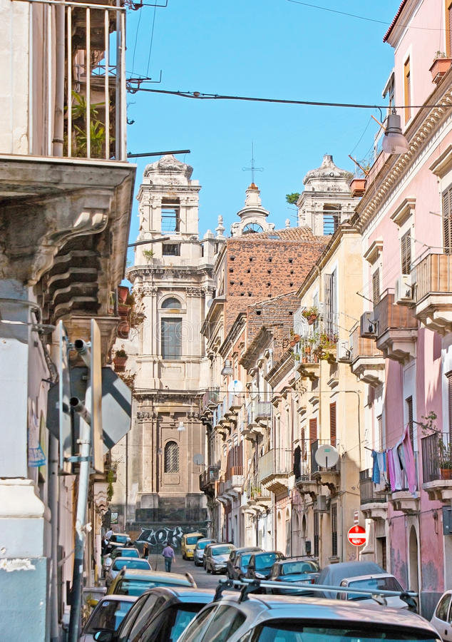 Walk in old Catania royalty free stock image