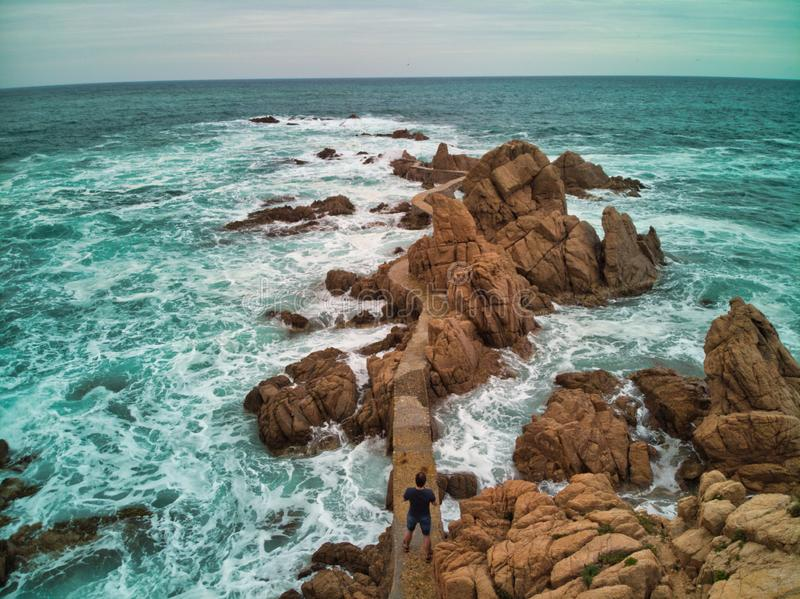 Walk over the Mediterranean Sea on the Brave Coast. Photo by drone view outdoor natural travel ocean nature beautiful blue road water landscape san orange stock images