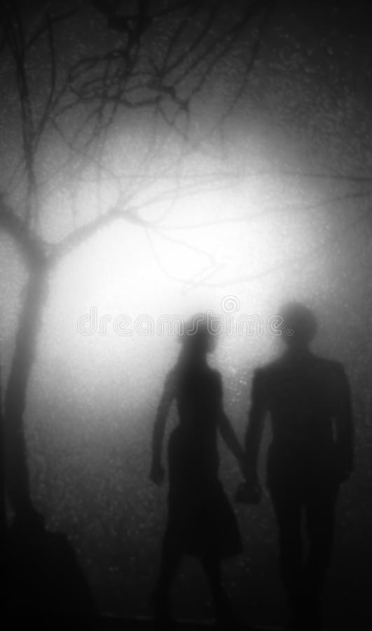 Walk in the park. Couple walking in the park at night, illuminated from behind by a blurred distant lamp