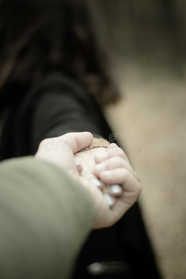 The girl holds the man by the hand. Walk through the park. The girl holds the man by the hand stock photography