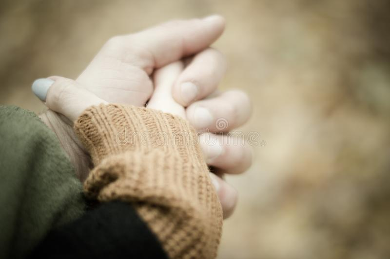 The girl holds the man by the hand. Walk through the park. The girl holds the man by the hand royalty free stock photos