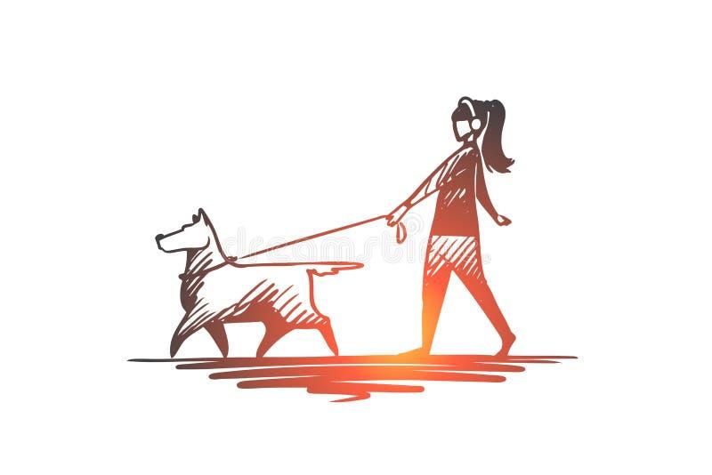 Walk, pet, dog, lifestyle, darling concept. Hand drawn isolated vector. Walk, pet, dog, lifestyle, darling concept. Hand drawn woman walking with her dog royalty free illustration