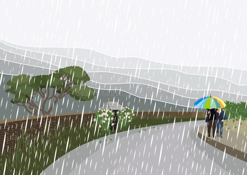 Walk in the rain. A couple is having a walk in the rain. In the background – landscape with brick walls, flowers and plants, trees, bushes and mountains stock illustration