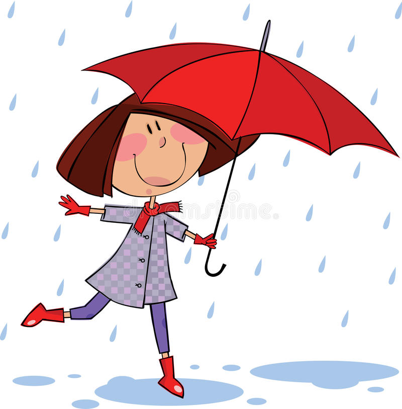 Walk in the rain vector illustration