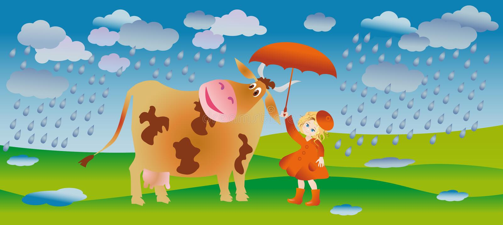 Walk in the rain. A girl and cow go for a walk in the rain stock illustration