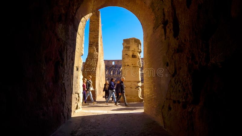 Walk Through Roman Colosseum Tunnel in Rome, Italy stock images