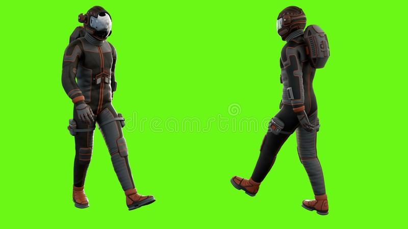 Walk a sci-fi astronaut. stock images