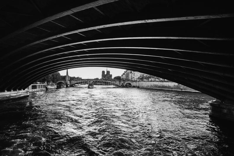 Black and white art monochrome photography. A beautiful European city. Euro-trip. Walk on the ship on the river Seine in Paris. Black and white art monochrome royalty free stock images