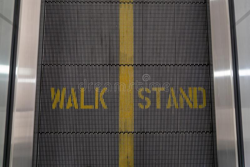 Walk Stand sign on a moving walkway. Walk stand sign moving walkways royalty free stock photos