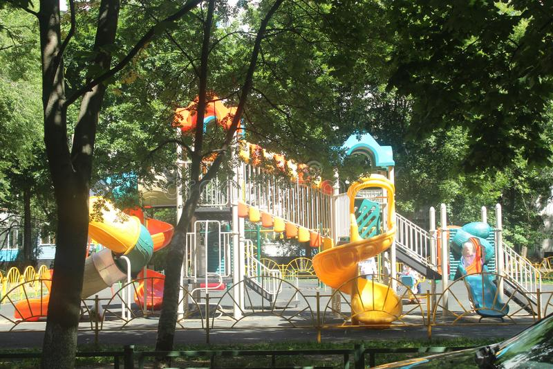 Walk to Korolev. Playground in North Cosmonaut Avenue. I am walk in old part of Kostino district, Korolyov city, Moscow Region, Russian Federation stock photography