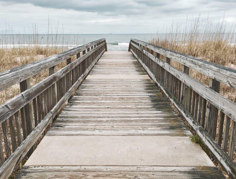 Walk to the Beach. Boardwalk to the Beach at Virginia Beach stock photos