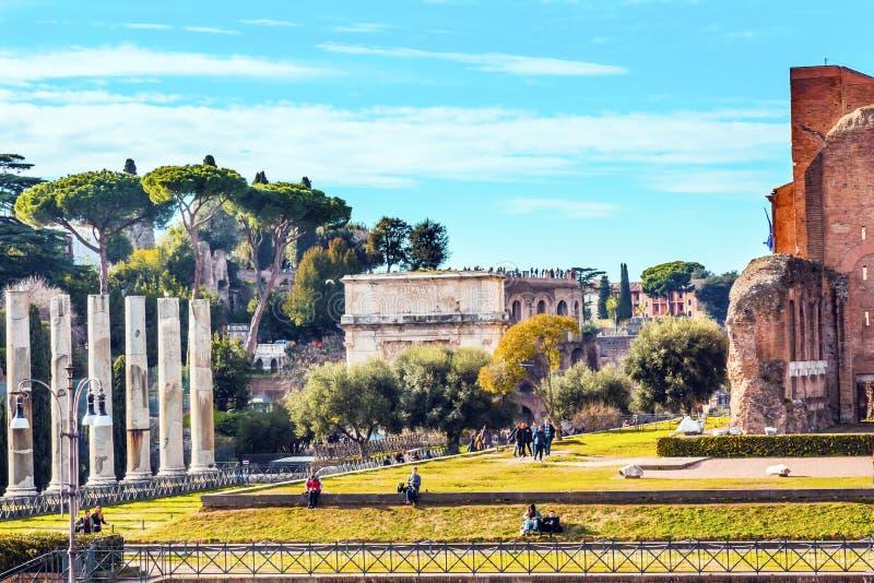 Walk To Roman Forum Columns Titus Arch Rome Italy royalty free stock photography