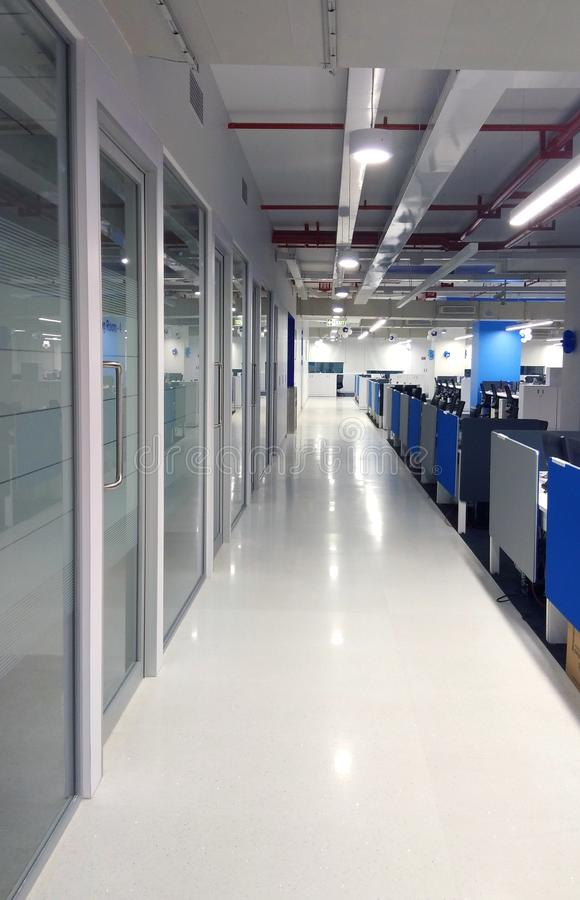Walk way of the work station an information technology company. royalty free stock images