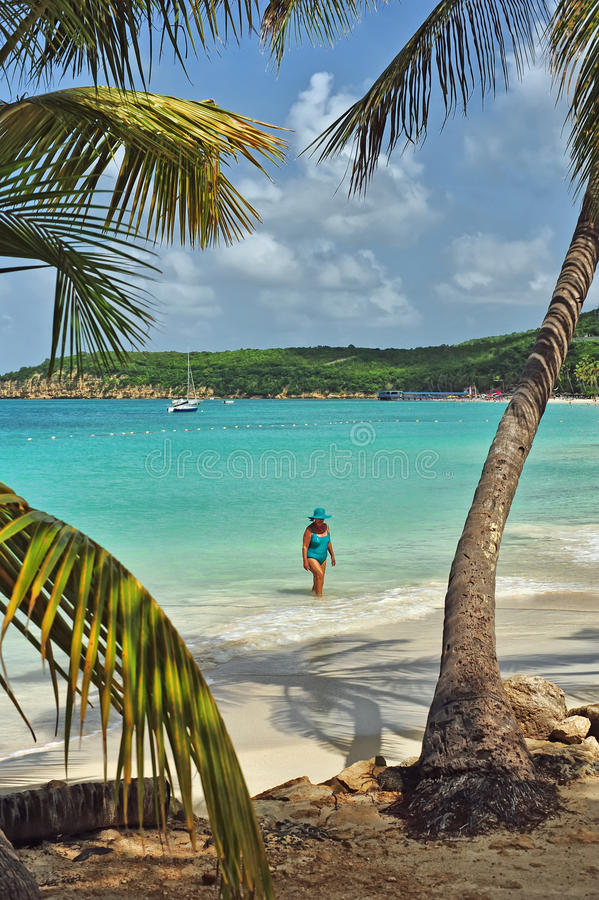 A Walk on the White Sand at Antigua stock images