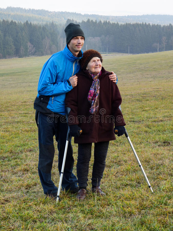Free Walk With Grandma Stock Image - 64159711