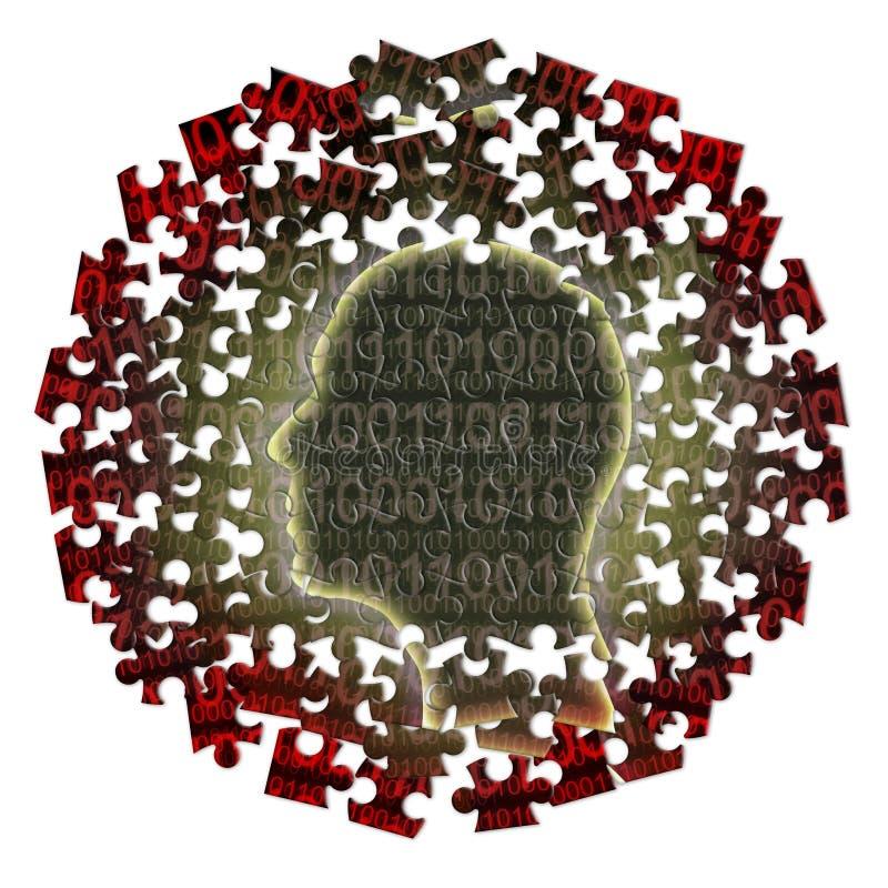 Walka przeciw cybernetycznemu przestępstwu - pojęcie wizerunek z wyrzynarki łamigłówki kształtem ludzka głowa z binarnym kodem na ilustracja wektor