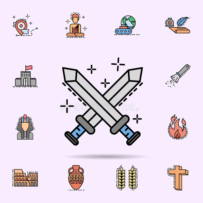 walka, wojna, ostrze ikona Og?lnoludzki ustawiaj?cy historia dla strona internetowa projekta i rozwoju, app rozw?j royalty ilustracja