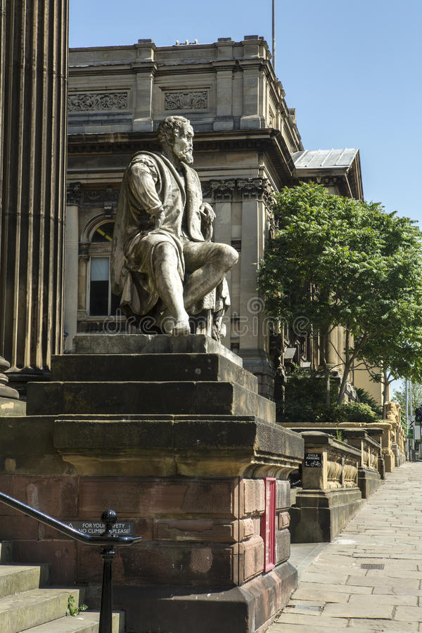 Walker Art Gallery Liverpool. The front of the Walker Art gallery in Liverpool, William Brown Street showing the statue of michelangelo royalty free stock image