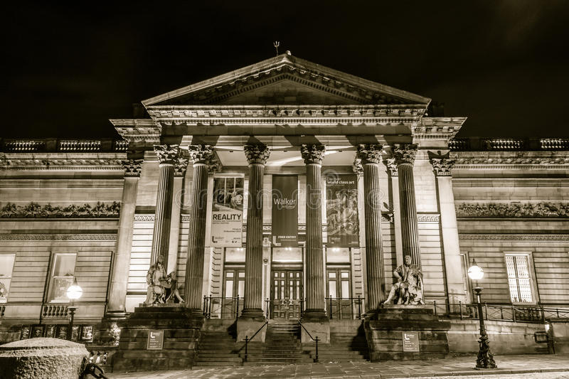 Walker Art Gallery by night. ENGLAND, LIVERPOOL - 15 NOV 2015: Walker Art Gallery by night stock photo