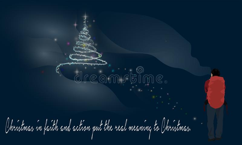 Walker and Christmas Tree And Words Of Wisdom. Merry Christmas And Words Of Wisdom On Black Background with Christmas trees glow full of stars and snowflakes and vector illustration