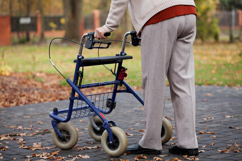 Walker. Disabled elder person walking with walker stock images