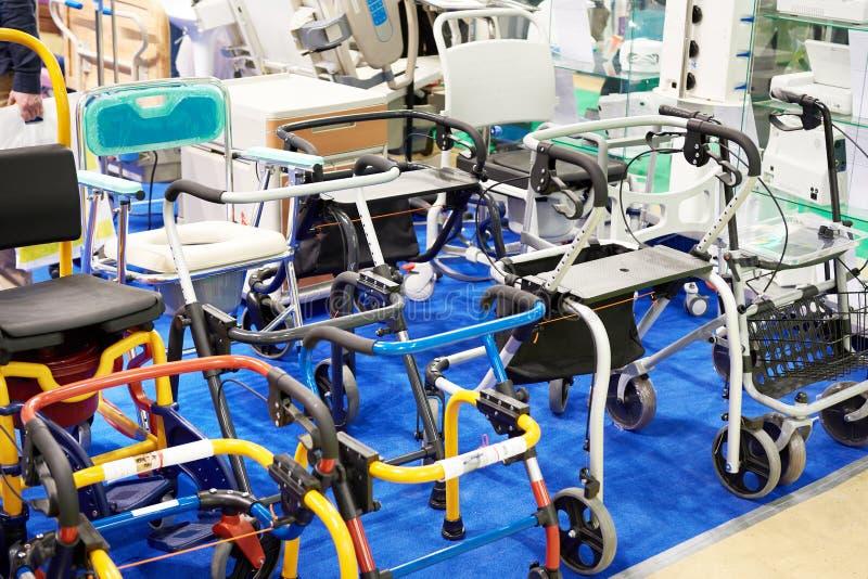 Walker for disabled or elderly people. Walker or walking frame is a tool for disabled or elderly people stock images