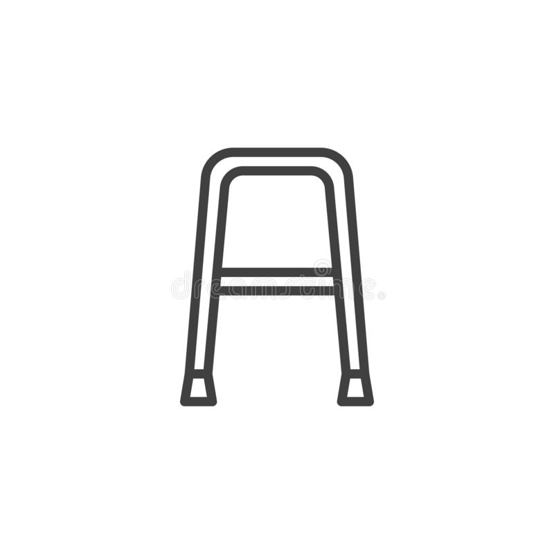 Walker for disabled line icon. Linear style sign for mobile concept and web design. Walker outline vector icon. Symbol, logo illustration. Vector graphics vector illustration