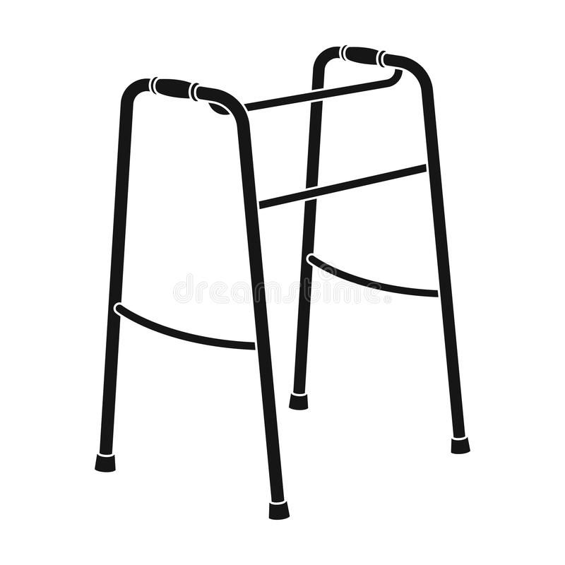 Walker for the disabled.Old age single icon in black style vector symbol stock illustration web. Walker for the disabled.Old age single icon in black style stock illustration