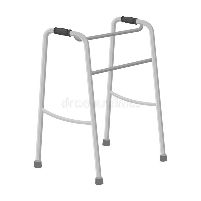 Walker for the disabled.Old age single icon in monochrome style vector symbol stock illustration web. Walker for the disabled.Old age single icon in monochrome stock illustration