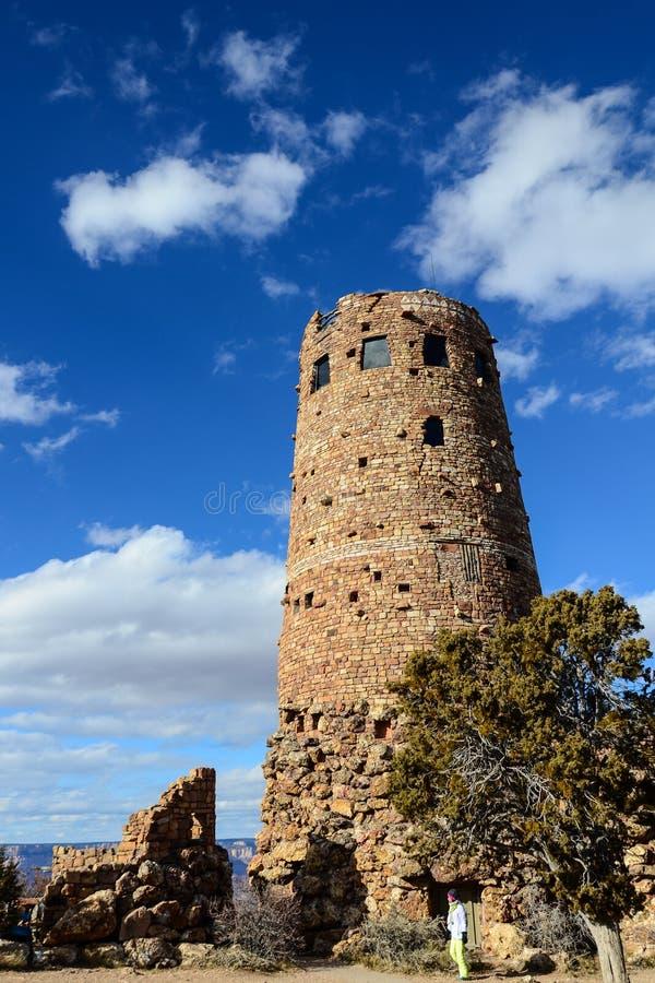 Walker Lake en Nevada Desert View Watchtower dans la jante du sud de Grand Canyon, Arizona, USA images stock