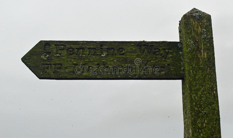 Walkers Signpost Yorkshire Dales National Park. Old fashioned sign post for walkers, yorkshire dales national park signing the way to many of the areas tourist royalty free stock photo