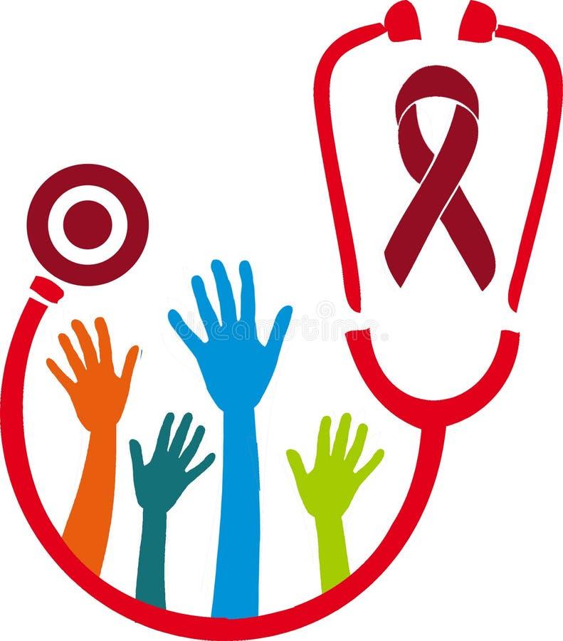 Walki HIV pomaga plakat na bielu zdjęcie royalty free