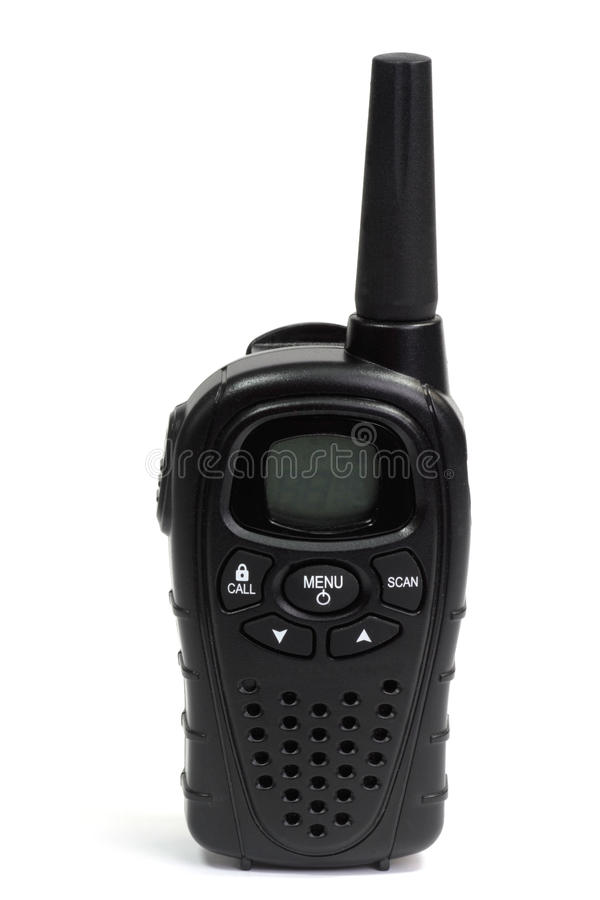 Walkie Talkie. Black walkie talkie - isolated on white background royalty free stock photos