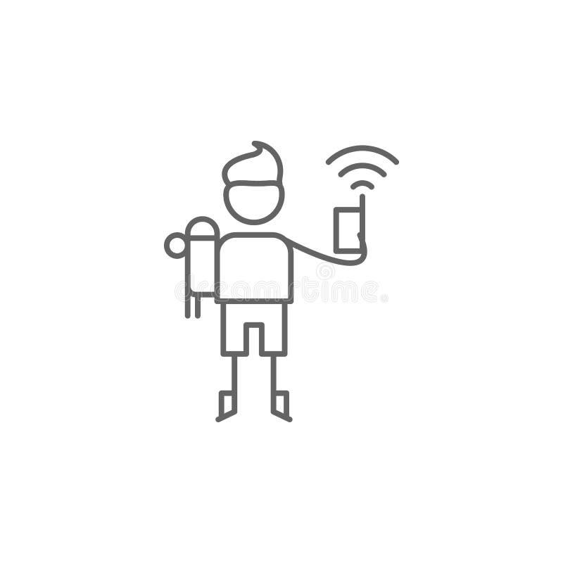 Walkie-talkie, avonturenpictogram Element van avonturenpictogram Dun lijnpictogram voor websiteontwerp en ontwikkeling, app ontwi stock illustratie
