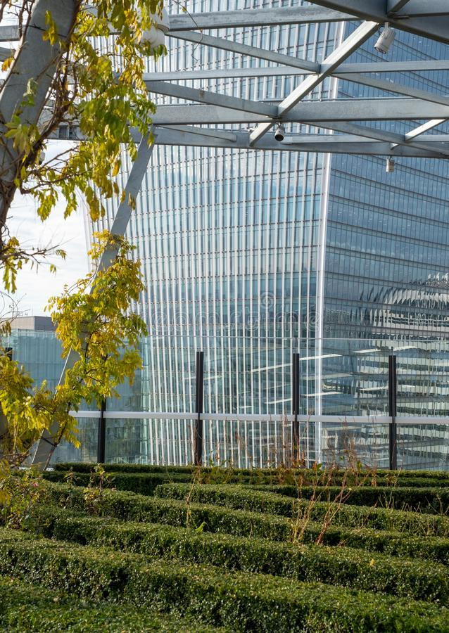 Walkie Talkie Building at 20 Fenchurch Street, photographed from the Garden at 120 Fenchurch Street. City of London financial district Walkie Talkie Building at stock photos