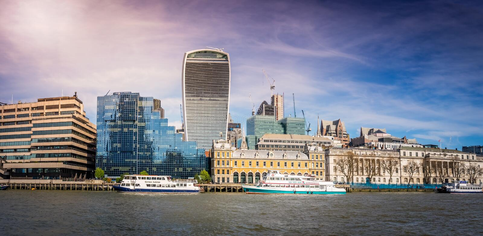 Walkie Talkie building. And Thames riverbank panorama, London, UK stock images