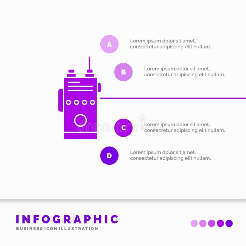 walkie, talkie, comunica??o, r?dio, molde de acampamento de Infographics para o Web site e apresenta??o ?cone roxo do GLyph infog ilustração stock
