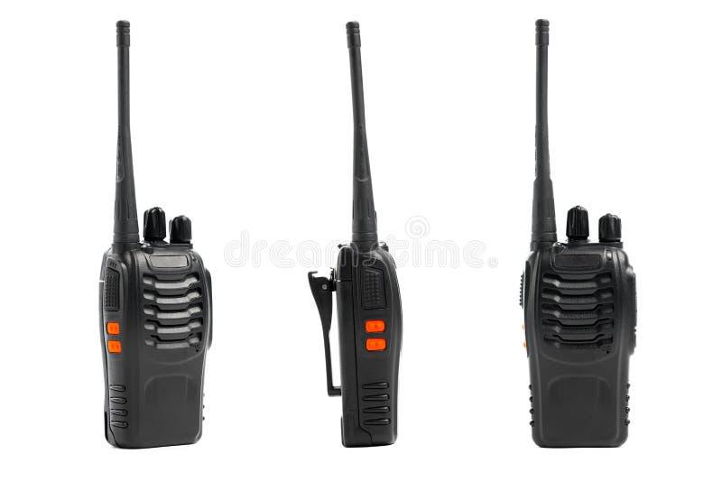 Walkie-talkie för bärbara radior på vit arkivbilder