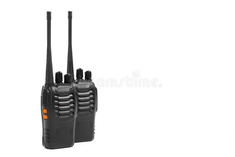 Walkie-talkie för bärbara radior på vit arkivfoton