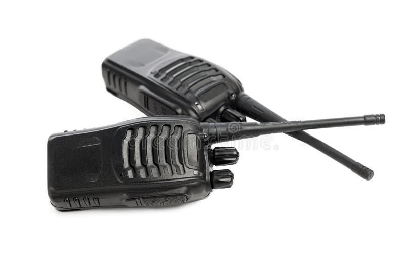 Walkie-talkie för bärbara radior på vit fotografering för bildbyråer