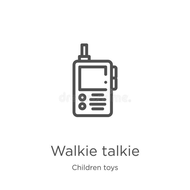 walkie talkie ikony wektor od dzieci bawi się kolekcję Cienka kreskowa walkie talkie konturu ikony wektoru ilustracja Kontur, cie royalty ilustracja