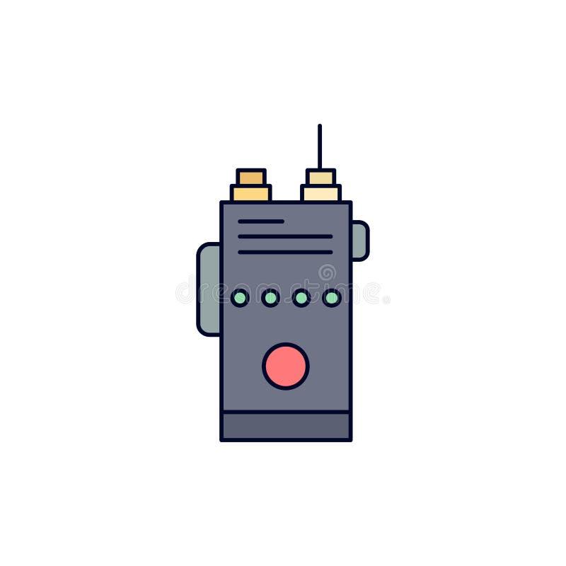 walkie, talkie, mededeling, radio, het kamperen de Vlakke Vector van het Kleurenpictogram royalty-vrije illustratie